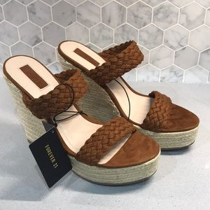 NWT Forever 21 Wedge Espadrille - Tan
